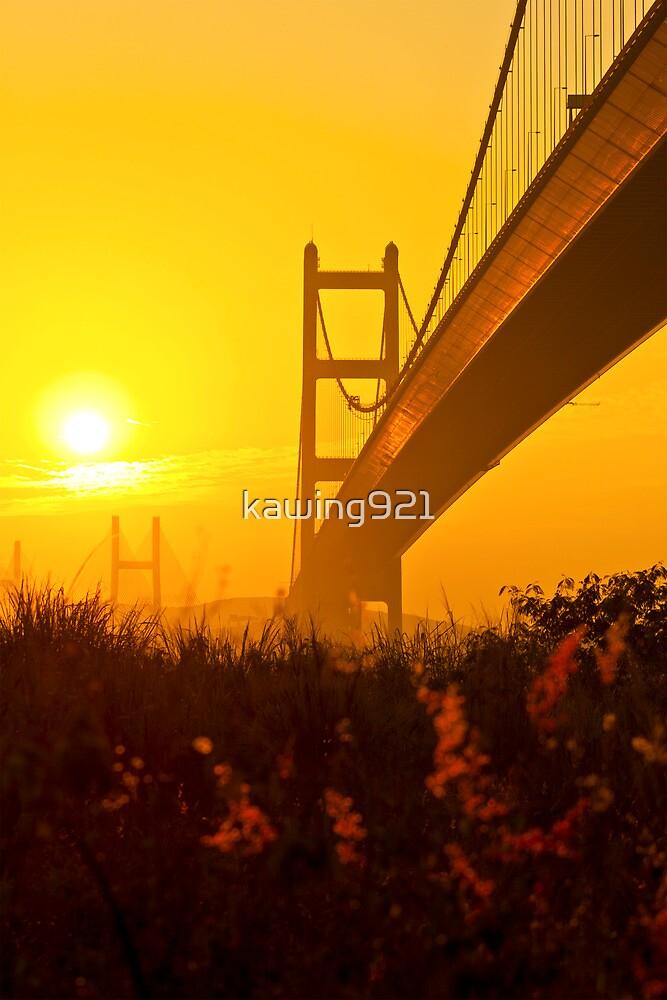 Tsing Ma Bridge in Hong Kong at sunset by kawing921