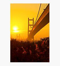 Tsing Ma Bridge in Hong Kong at sunset Photographic Print
