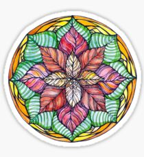 Christmas mandala.Hand draw  ink and pen, Watercolor, on textured paper Sticker