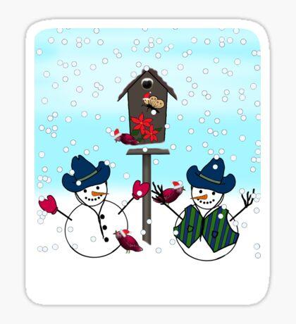 Cowboy Hats on Snowmen Sticker