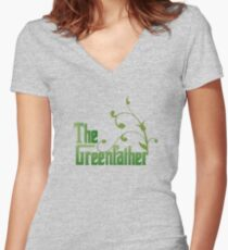 The Greenfather: Environmental Parody Women's Fitted V-Neck T-Shirt