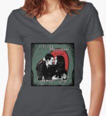 """Un Fou, Passionné, l'Amour Vrai!""- One Crazy, Passionate, True Love! (green) Women's Fitted V-Neck T-Shirt"
