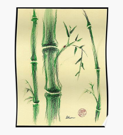 Happiness - Zen bamboo prisma pencil and watercolor drawing Poster