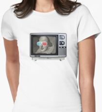 Shakespeare 3D T.V. Womens Fitted T-Shirt