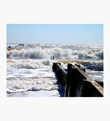 Waves Off The Groyne's Edge! Photographic Print
