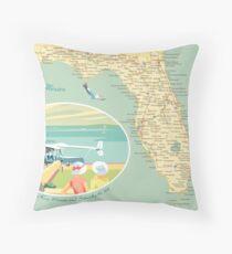 Florida Map with Dinner Key Throw Pillow