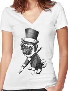 Pug Fred Astaire Women's Fitted V-Neck T-Shirt