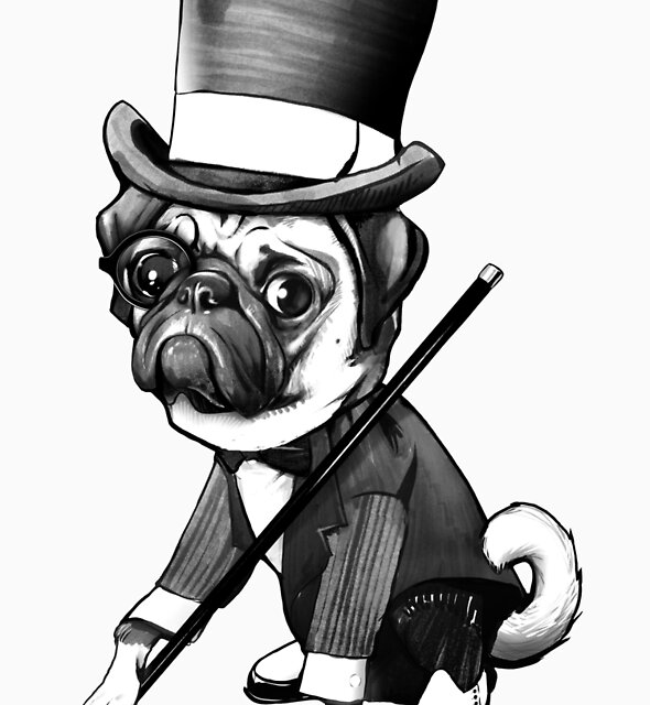 Pug Fred Astaire by jimiyo