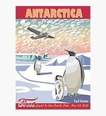 Antarctica - Ford Trimotor and Penguins Photographic Print