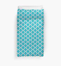 Elegant Turquoise Blue Quatrefoil Pattern Duvet Cover