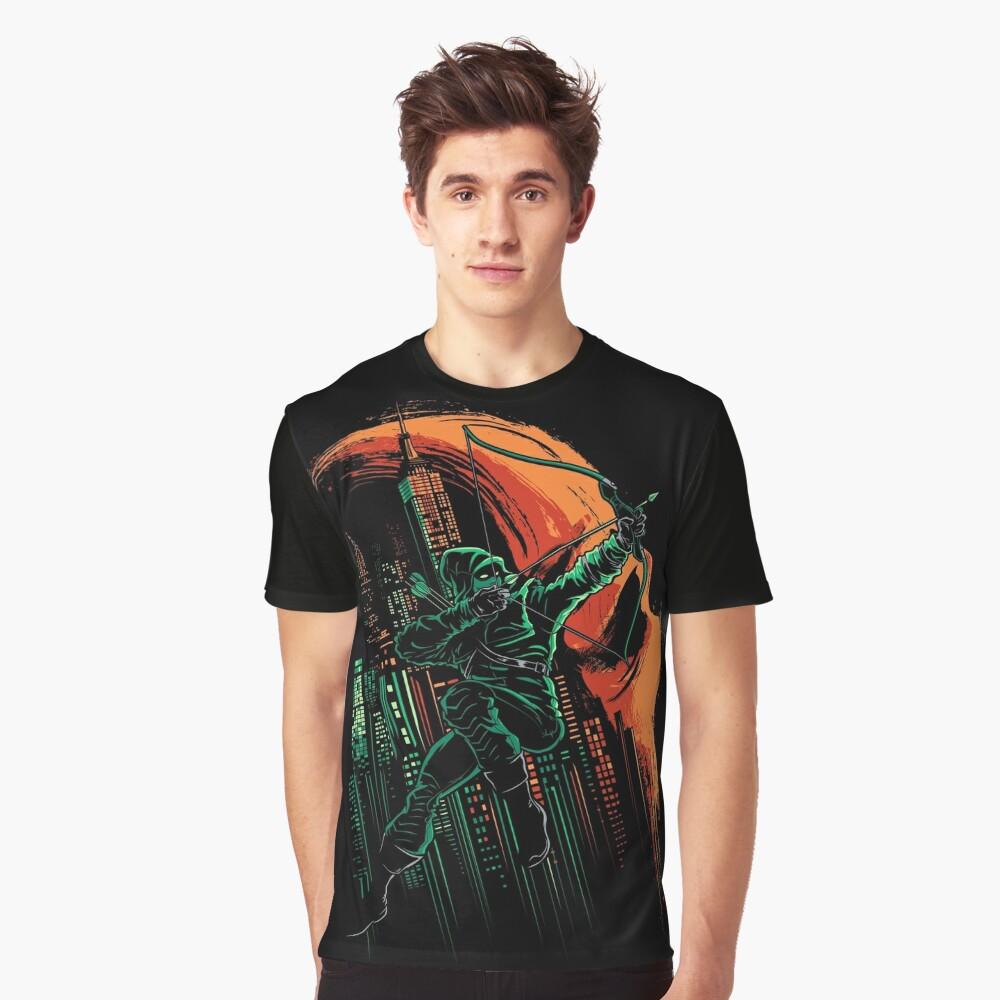 Grüne Wachsamkeit Grafik T-Shirt Vorne