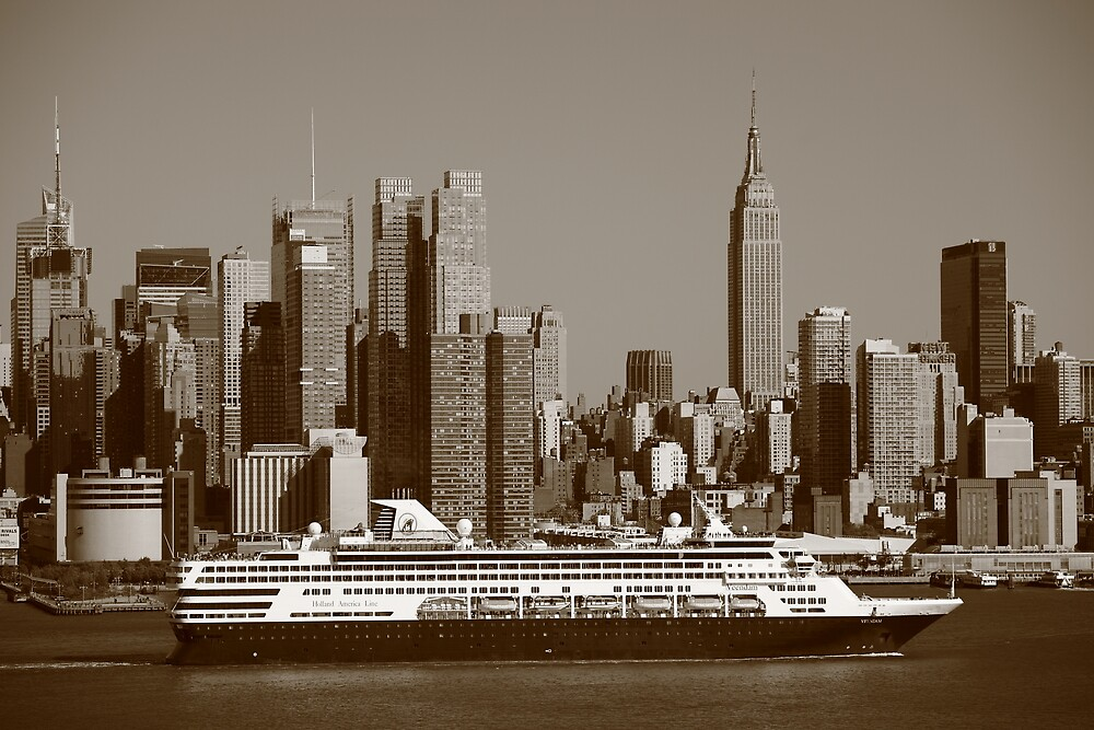 New York City Skyline and Cruise Ship by Frank Romeo