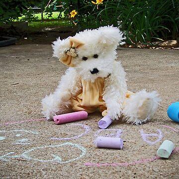 Winnie Surveys Her Chalk Drawings by DwCCreations