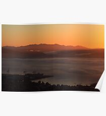 Dawn over Wellington harbour and hills Poster