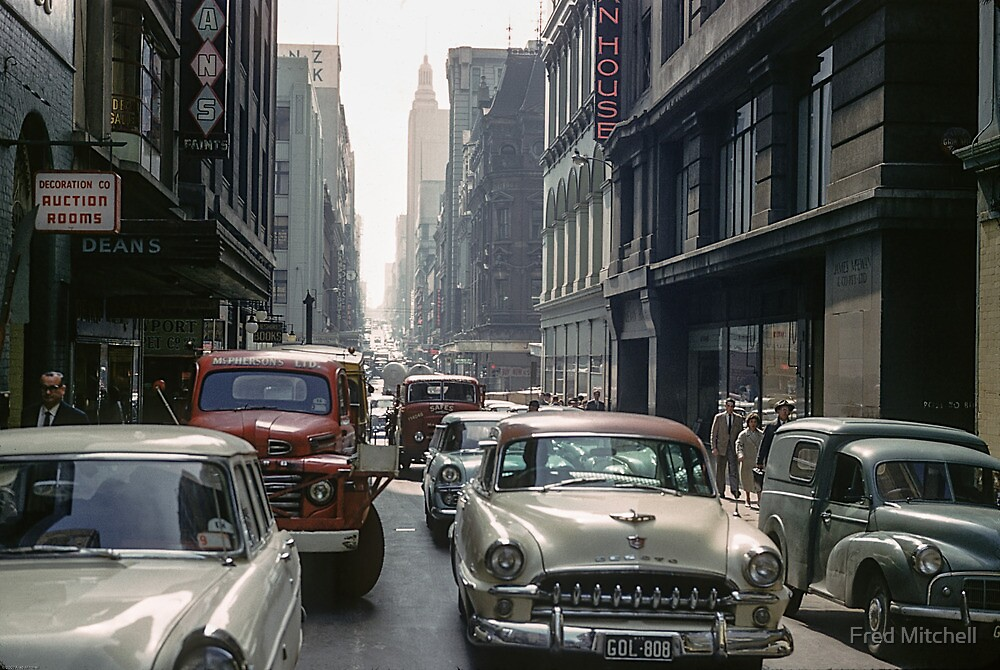 Little Collins Street traffic 19601100 0000 by Fred Mitchell