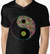 Yin Yang Symbol Psychedelic Art Design V-Neck T-Shirt
