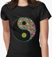 Yin Yang Symbol Psychedelic Art Design Womens Fitted T-Shirt