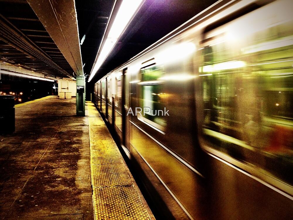 Elevated Subway at Night by ARPunk