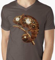Steampunk Chameleon Vintage Style Men's V-Neck T-Shirt