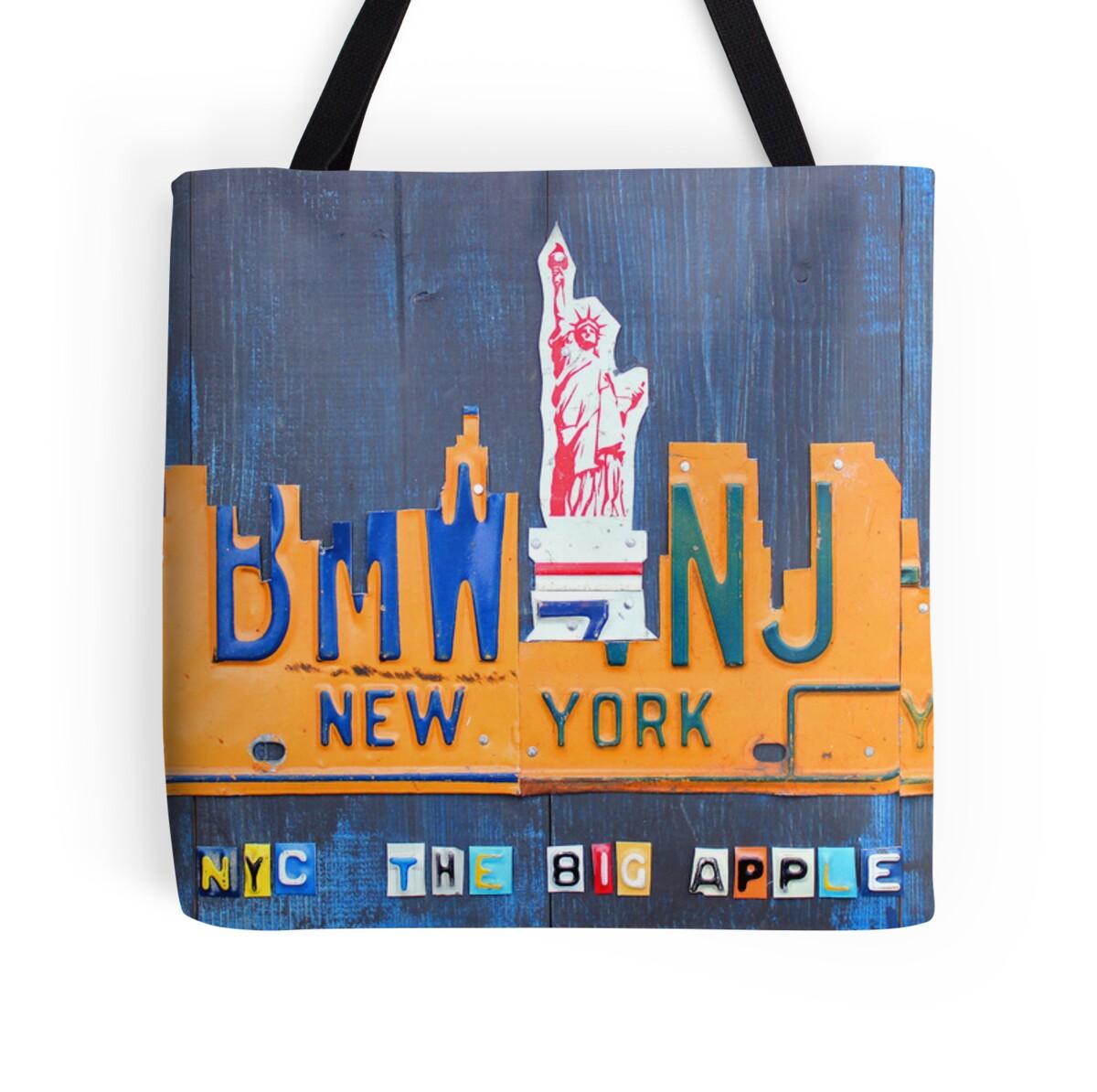 Art Bag Nyc New York City Skyline License Plate Art Nyc Usa Tote Bags By
