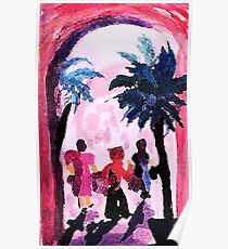 Long day shopping, watercolor Poster