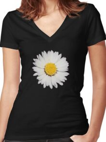 Top View of a White Daisy Isolated on Black Women's Fitted V-Neck T-Shirt