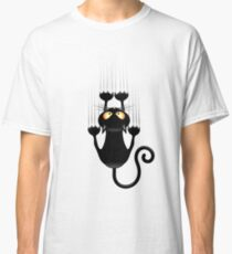 Fun Cat Cartoon Scratching Wall Classic T-Shirt