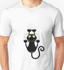Fun Cat Cartoon Scratching Wall Unisex T-Shirt