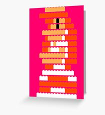 8-Bit Brick Peach Greeting Card