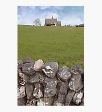 ballyvaughan old stone wall and church Photographic Print