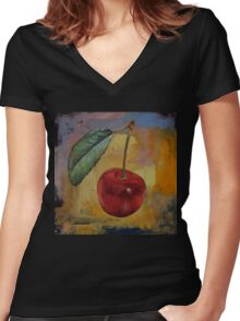 Vintage Cherry Women's Fitted V-Neck T-Shirt