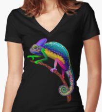 Chameleon Fantasy Rainbow Colors Women's Fitted V-Neck T-Shirt
