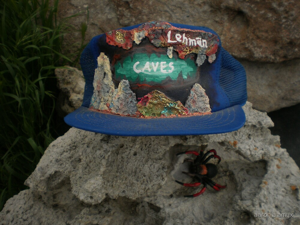 Lehman Caves / fire painting on cap artwork \ and Wolf Spider by aaron a amyx