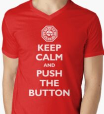 Keep calm and push the button (Every 108 minutes) Men's V-Neck T-Shirt