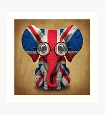 Baby Elephant with Glasses and Union Jack British Flag Art Print