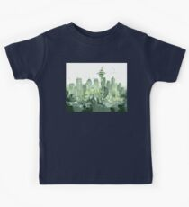 Seattle Watercolor Space Needle Skyline Kids Tee