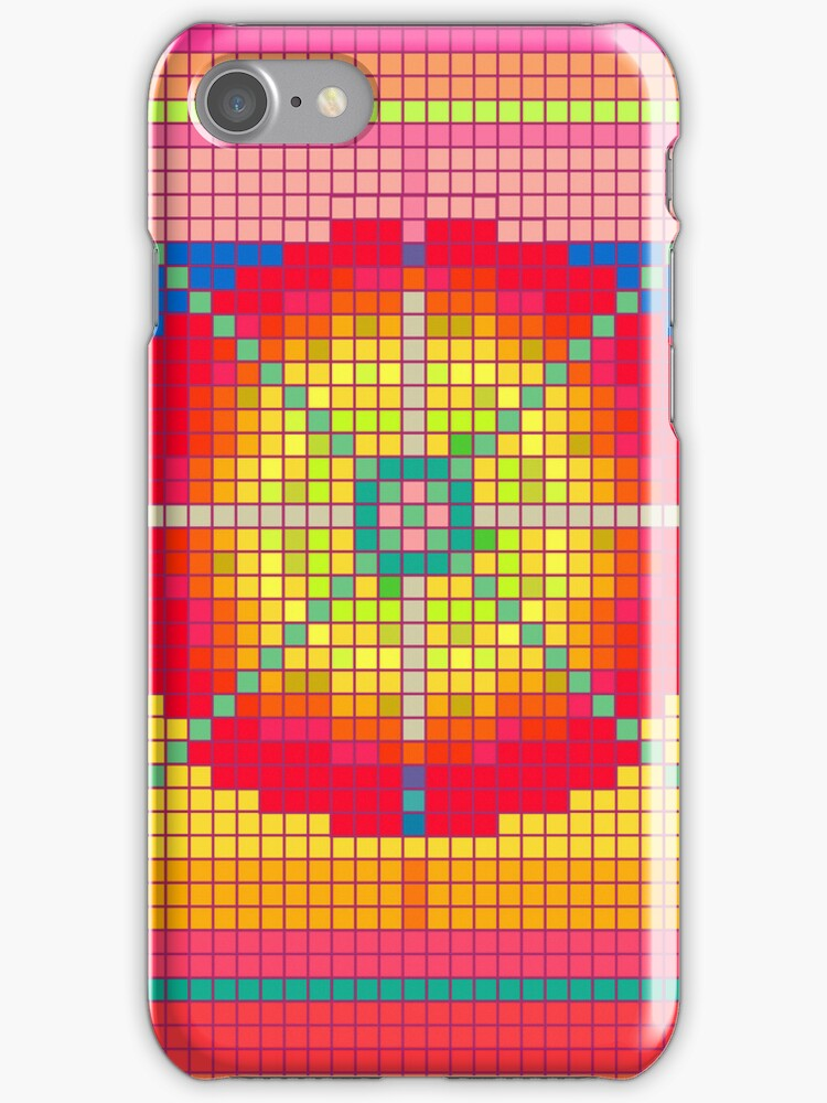 Colorful Pixel Art Pattern iPhone 4 Case / Samsung Galaxy Cases  by CroDesign