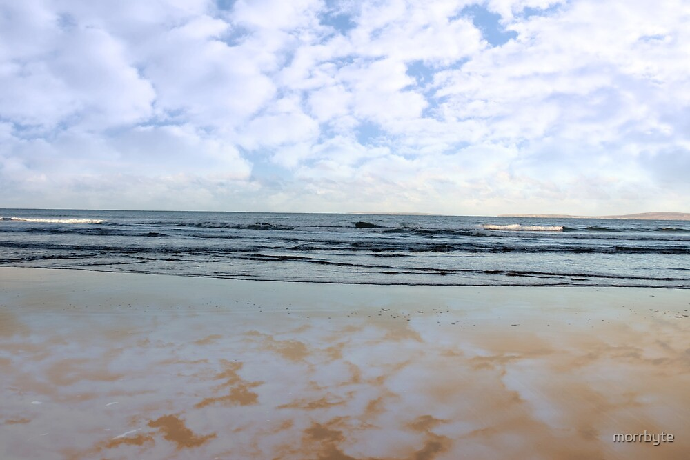 blue sky blue sea gold sand by morrbyte