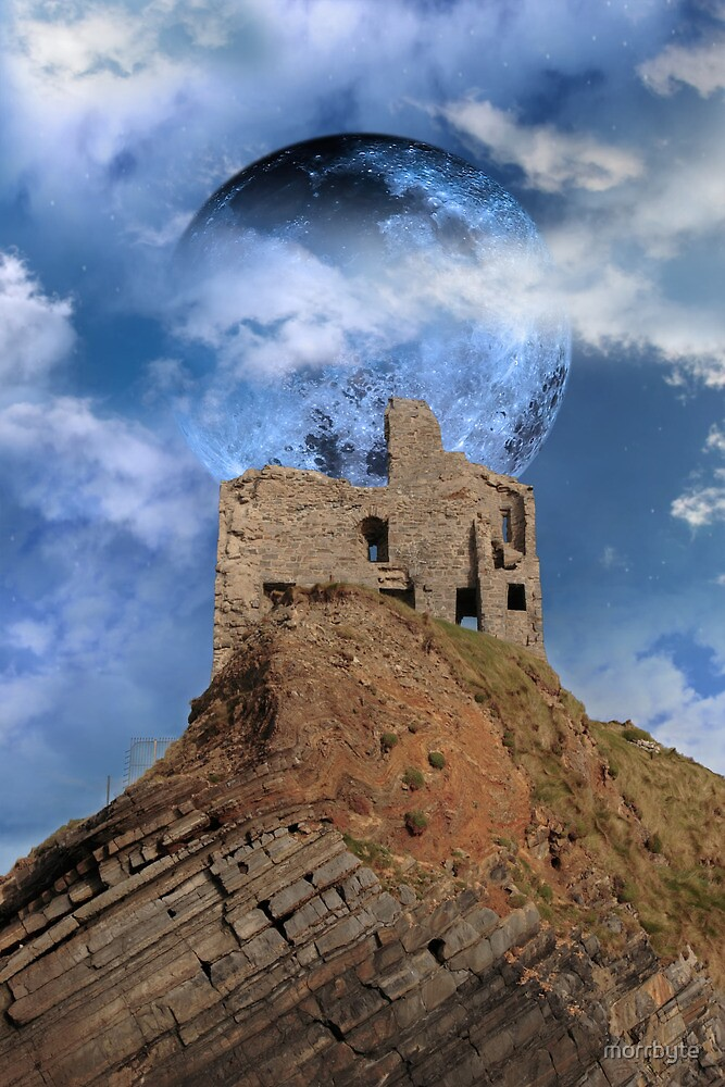castle ruin with full moon by morrbyte