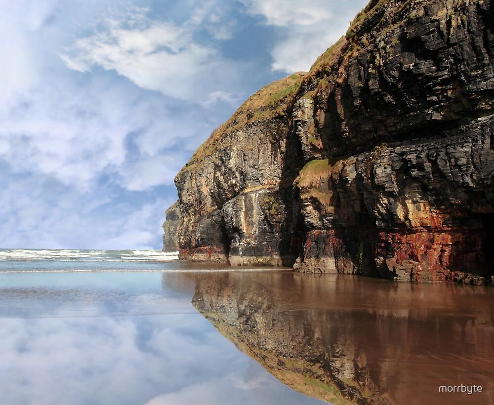 cliff reflection on ballybunion beach by morrbyte