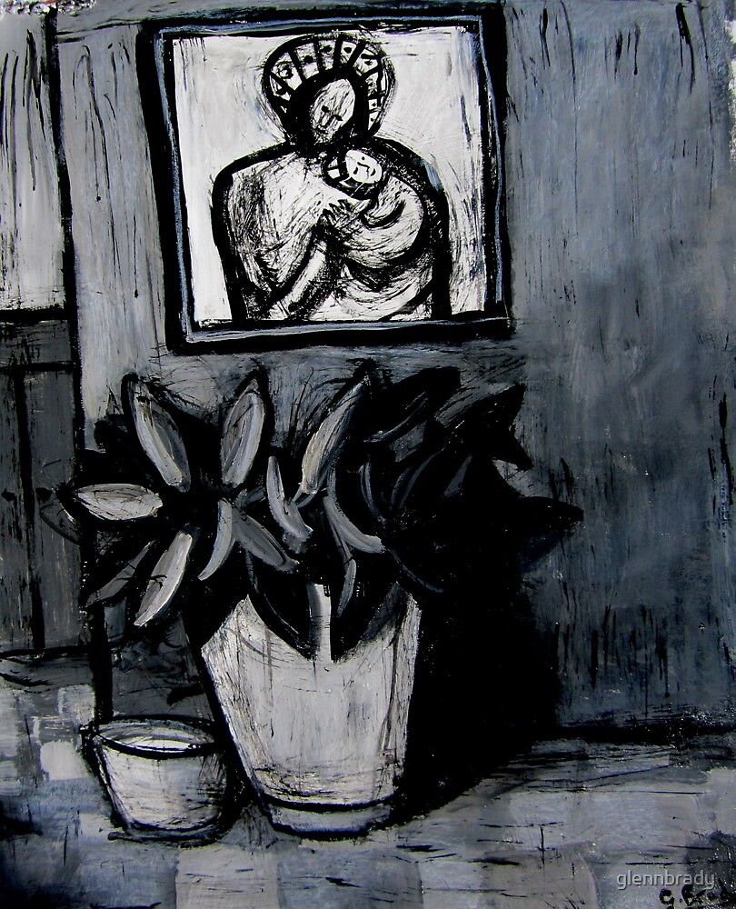 madonna and child,pot plant and dog bowl by glennbrady