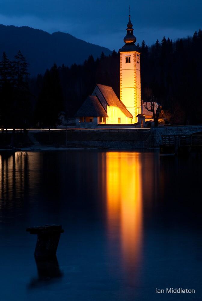 Church at dusk by Ian Middleton
