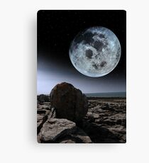 full moon and boulders in rocky burren landscape Canvas Print
