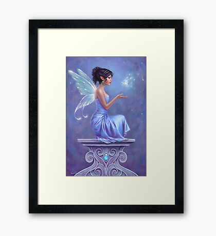 Opalite Fairy with Glowing Butterfly Framed Print