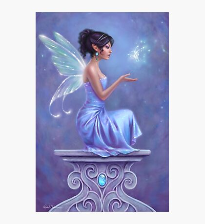Opalite Fairy with Glowing Butterfly Photographic Print