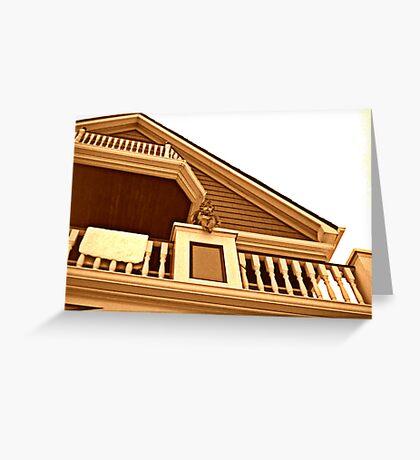 Cherub On Balcony of Victorian House, Ocean Grove, NJ [sepia] Greeting Card