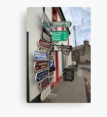 irish road signs on path Canvas Print