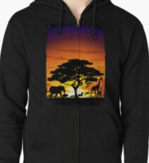 Wild Animals on African Savanna Sunset  Zipped Hoodie