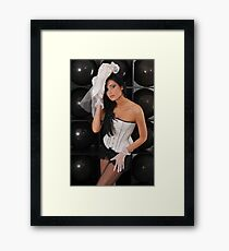 Portrait of sexy topless young lady in V shape corset and black lingerie Framed Print