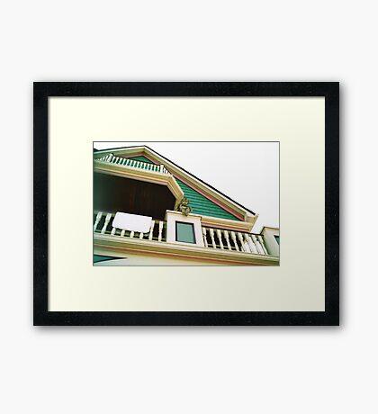 Cherub On Balcony of Victorian Painted House, Ocean Grove, NJ Framed Print
